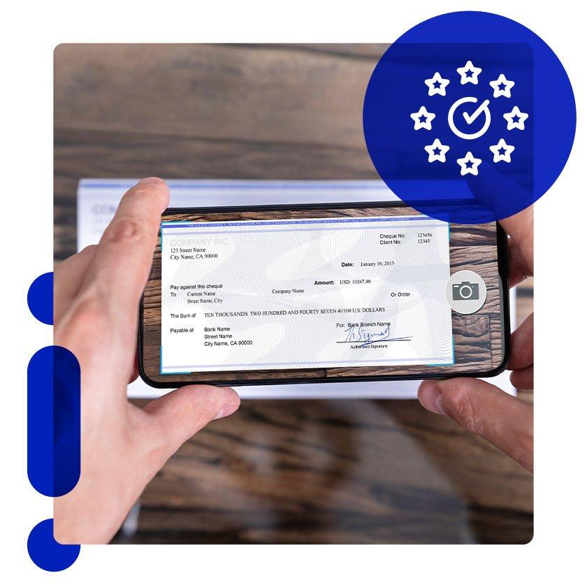 Man depositing check with mobile banking app