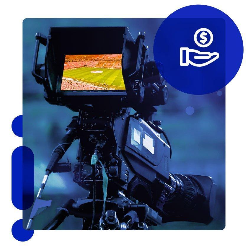 Camera broadcasting live sports event