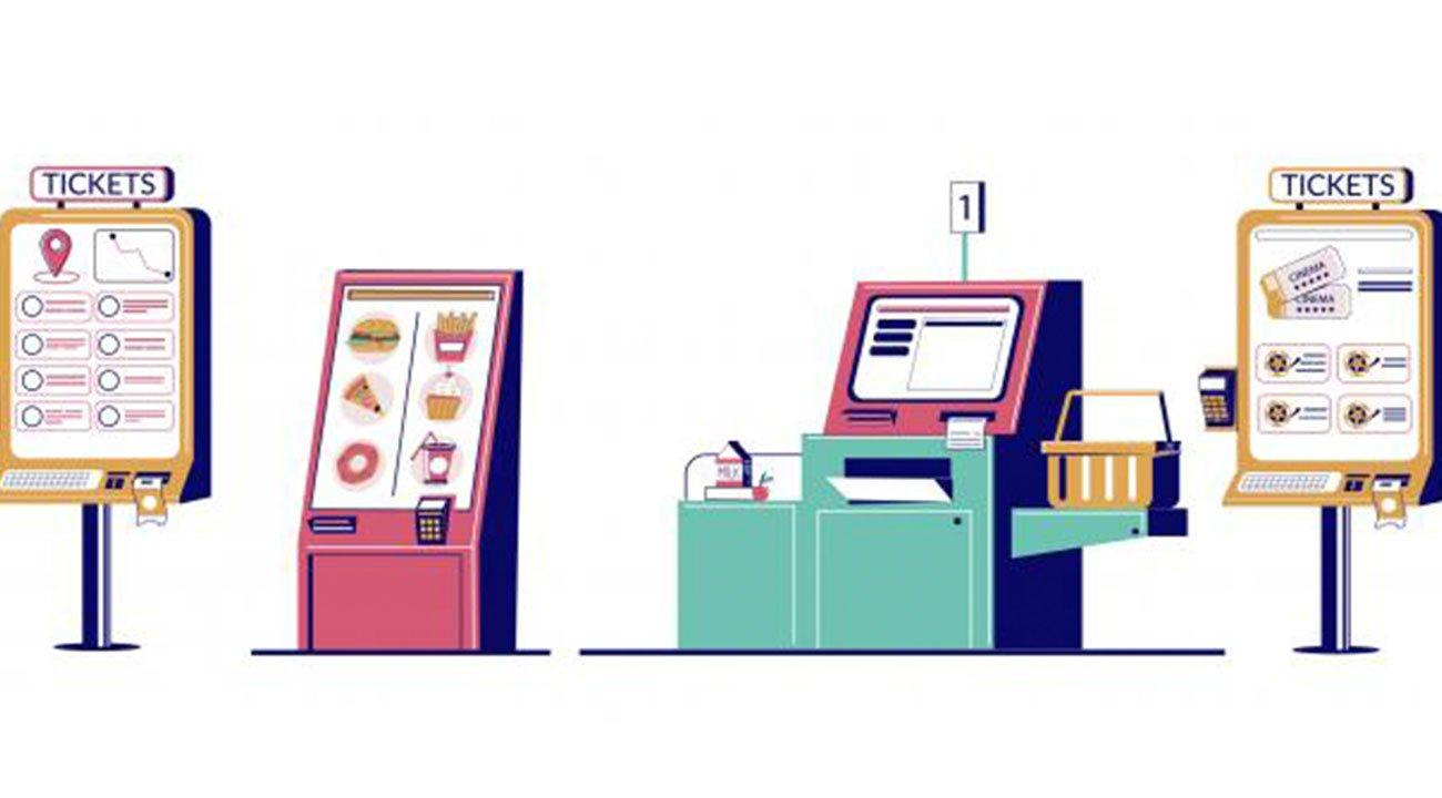 Illustration of multiple self-service kiosks
